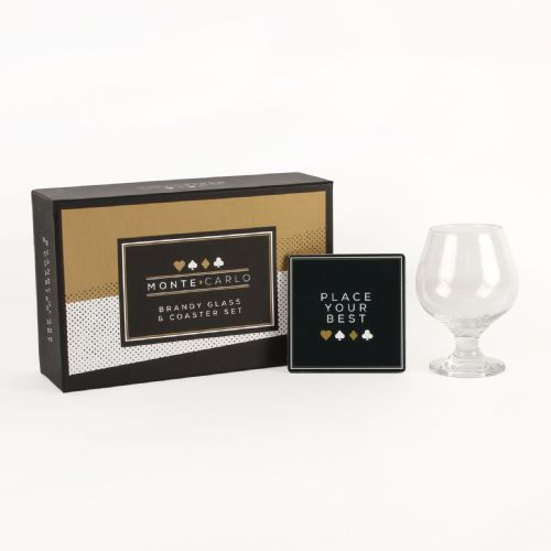 Brandy Glass & Coaster Set Poker Themed